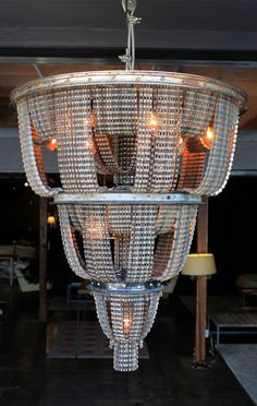 Chandelier made from old bike chains and rims