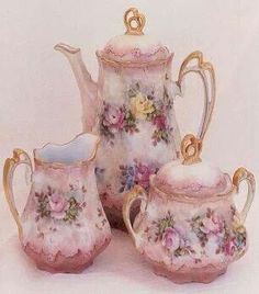 Pink floral Tea Set