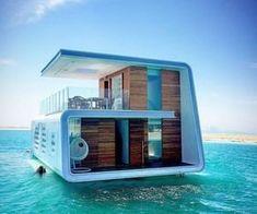 Pontoon Houseboat, Houseboat Living, Floating Architecture, Amazing Architecture, Dubai, Underwater House, Luxury Boat, Floating Hotel, Boat Design