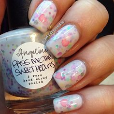 """"""" Waited a whole year to use this polish! Def one of my favorite crellys!  @loveangelinepolish Pass Me The Sweet Hearts, part of last year's vday…"""""""