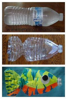This water bottle fish craft is both easy and fun for kids of all ages. Fish Crafts for Kids! Kids Crafts, Summer Crafts, Preschool Crafts, Arts And Crafts, Craft Kids, Water Crafts Kids, Craft Art, Creative Crafts, Creative Art