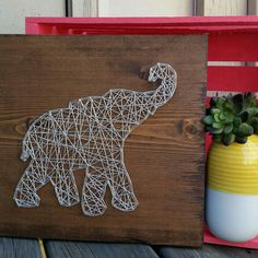 Made to Order String Art Sign, Elephant String Art, Nail and String Art, Custom Elephant String Art, African Home Decor, Elephant Decor