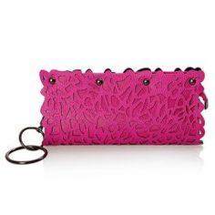 Women's Clutch With Openwork and Rivets Design