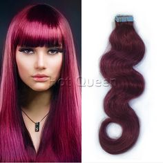 Hot Queen 100% Human Hair Brazilian Body Wave Remy Skin Weft Hair Extension 50g/20Pcs Burgundy Red Human Hair Extension