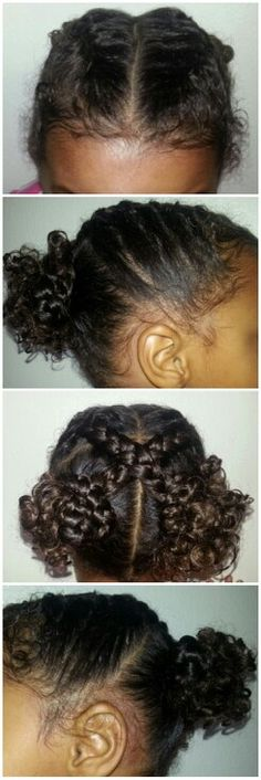Saw this style here on Pinterest & had to give it a shot. Too cute!! Biracial mixed black kids girls children hair styles curly braids                                                                                                                                                      More