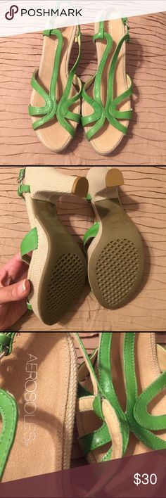 Brand New Beautiful Green Leather EspadrilleSandal Green Leather Beige Linen Espadrilles AEROSOLES Shoes Sandals
