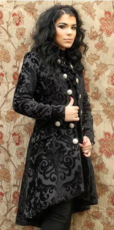 LIONHEART COAT BLACK VELVET BROCADE by Shrine Clothing Gothic Dresses