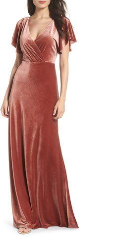 085344eb92e4 Jenny Yoo Ellis Flutter Sleeve Stretch Velvet Gown Pink Velvet Dress,  Velvet Gown, Velvet