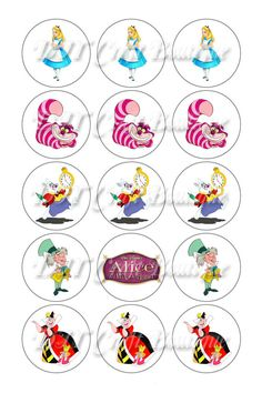 Welcome to DIY Craft Boutique! Im glad you stopped by! THIS IS A DIGITAL INSTANT DOWNLOAD....NO PHYSICAL ITEMS WILL BE SENT.    This listing is for a Digital 1 Inch Circle Bottle Cap Image Sheet of Disney Alice In Wonderland Inspired-White Backgrounds ( Sheet # AW01 ) as shown above. Once you have downloaded this file, you can print it out as many times as you would like. It works best to punch out the images with a one inch circle punch which you can purchase at any craft store. It can be…