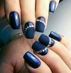 Matte navy with rhinestones on 2