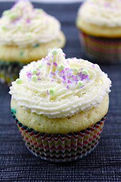 Confetti Cupcakes with Champagne Custard Filling and Vanilla Champagne Buttercream