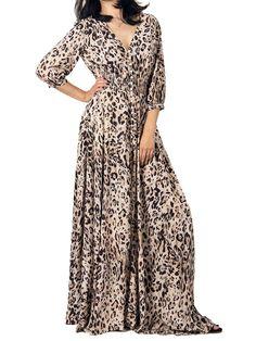 leopard dress,button dress,maxi dress, v neck dress