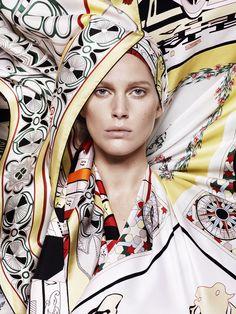 "SOIE FOLLE Scarves 70 in vintage silk""Rose de compas"", ""Cheval fleuri"" and ""Calèche élastique"" Giant scarf in twill plume""Folklore d'Henri d'Origny"" Silk twill Maxi-twilly ""Astrologie nouvelle""      soiefolle.hermes.com"