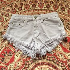 Car Mar Lavender cut of Fringe denim shorts // 25 excellent condition // from LF stores // Retail: $185 LF Shorts Jean Shorts