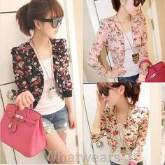 Cute mini jacket. Loving the peach floral designs