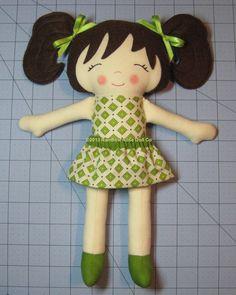 Cloth Doll Pattern PDF Felt Rag Doll Sewing by rainbowrosedollco
