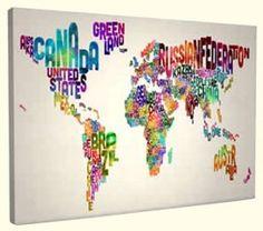 Wereldkaart Text Art linnen