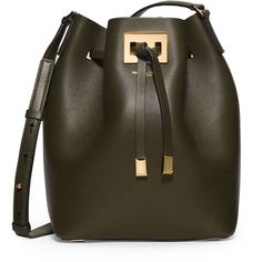 Michael Kors Collection Miranda Medium Drawstring Messenger Bag ($740) ❤ liked on Polyvore featuring bags, messenger bags, olive, courier bag, michael kors messenger bag, messenger bag, drawstring bag i brown bag