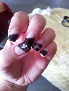 Nails - Nageldesign  schwarz  glitzern mit Fee