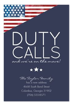 Duty Calls Moving Announcement... since moving every 3-4 years is definitely in my future