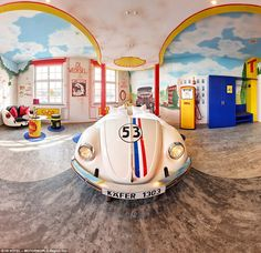 #Bug life: The V8 Hotel has car-themed rooms including this Herbie-shaped #VW bed #ValleyMotorsVW