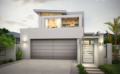 Narrow Lot House Plans Modern House Design Cost Planning And Builders South East Northern New South Whales Magnolia Small Lot Narrow Lot Modern House Plans Australia Exterior Wall Design, Garage Door Design, Exterior Paint Colors For House, Modern Exterior, Small House Design, Modern House Design, Modern Garage Doors, White Garage Doors, Contemporary Garage Doors