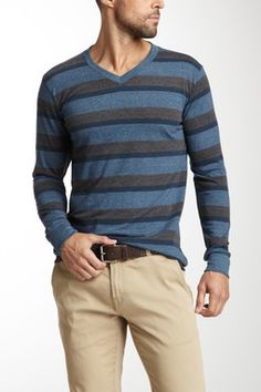 Threads for Thought Three Stripe Long Sleeve Tee