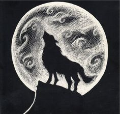Image result for wolves howling in the moonlight drawings