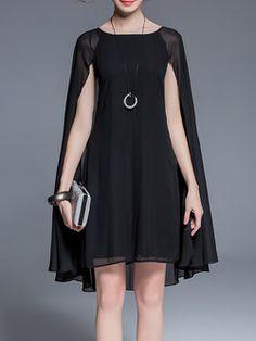 Black Bateau/Boat Neck Plain Work A-line Midi Dress; I could modestify this.