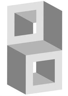 gestapelde blokjes optische illusie