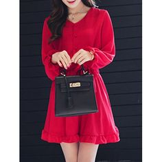 Chic Solid Color V-Neck Waist Tied Long Sleeve Flounced Dress Sammy Dress, V Neck, Pullover, Elegant, Chic, Long Sleeve, Pretty, Geek, Shopping