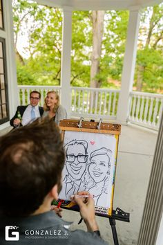 This bride and groom hired a caricaturist to draw their guests. Fun idea!