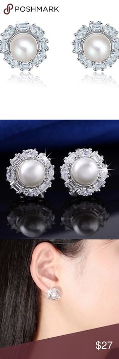 Shipping $ 4.99 until 9:20 A.M. Pearl Earrings Platinum plated, AAA Austrian Zircon, not real pearl.   Nickel free High quality jewelry Jewelry Earrings