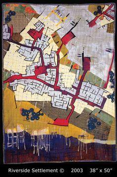 """Riverside Settlement"" Fiber Art map by Valerie S. Goodwin"
