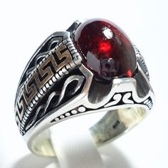 925 Sterling Silver Men's Ring with Real Almandine Garnet and Bronze Greek Motifs