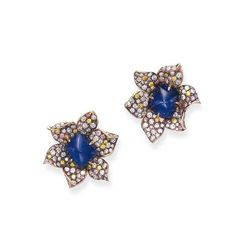 A PAIR OF SAPPHIRE, DIAMOND AND COLORED DIAMOND EAR CLIPS, BY CARVIN FRENCH