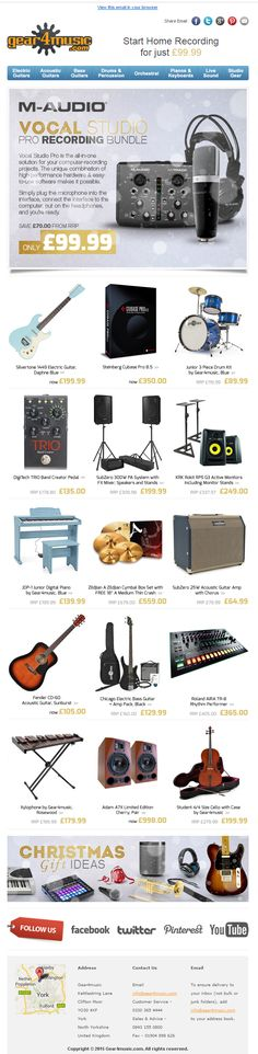 Product Recommendations Email from Gear4Music including offer banner and a selection of recommendations #EmailMarketing #Email #Marketing #Music #Hobbies #Product #Recommendations #Offer