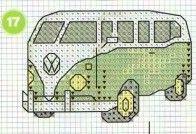 Green VW Van • cross stitch chart Mini Cross Stitch, Cross Stitch Charts, Cross Stitch Designs, Cross Stitch Patterns, Embroidery Art, Cross Stitch Embroidery, Embroidery Patterns, Asian Quilts, Pixel Pattern