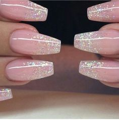 Natural Looking Nude Coffin Nails With Subtle Glitter Gradient