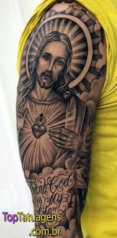 Jesus Tattoos - Tons of Jesus Tattoo Designs & Ideas - Tattoo Me Now Jesus Tattoo Sleeve, Religious Tattoo Sleeves, Chicano Tattoos Sleeve, Irezumi Tattoos, Tribal Tattoos, Hand Tattoos, Forearm Tattoos, Jesus Hand Tattoo, Men Tattoo Sleeves