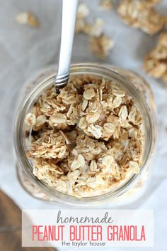 Homemade Four Ingredient Peanut Butter Granola Recipe! Great for snacks or trail mix! Add to your breakfast!