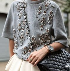 Eye for detail - embellished - monstylepin #fashion #style #detail #trend #embellished #embellishments #rhinestones #knit #accessories #stackedrings #chanel