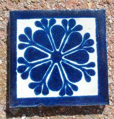 "20 Mexican Talavera Pottery 2"" Clay Tile Lace Blue Azul Cream White Venice CD   eBay"