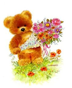 Belles illustrations de G.Giordano /Tulip et Marigold Bear Images, Teddy Bear Pictures, Teddy Bear Cartoon, Cute Teddy Bears, Clip Art Pictures, Cute Pictures, Photo Ours, Art D'ours, Decoupage