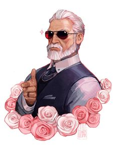 artist name beard borrowed character facial hair flower formal highres jewelry littleulvar necktie old man original pointing ring rose sunglasses upper body white hair - Image View - Character Concept, Character Art, Concept Art, Fantasy Kunst, Fantasy Art, Anime Kunst, Anime Art, Character Portraits, Art And Illustration