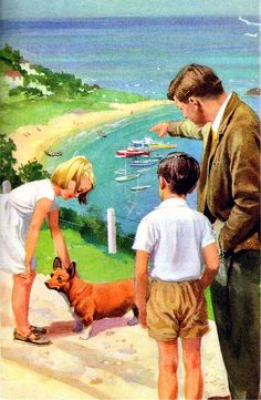 Vintage Corgi art, Happy Holiday - The Ladybird Key Words Reading Scheme (The Peter and Jane Books). By William Murray; illustrated by J H Wingfield. Vintage Children's Books, Vintage Art, Vintage Stuff, Corgi Pictures, Ladybird Books, Corgi Dog, Children's Book Illustration, Book Illustrations, Vintage Pictures