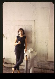 Vija Celmins in the studio.