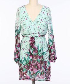 Mint Floral Surplice Dress