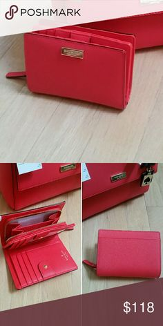 NWT Kate Spade Wallet NWT Kate Spade Wallet in saffiano leather with gold hardware. Wallet is geranium red from the Newbury Lane collection.   Please let me know if you need more pictures or have any questions.   Resonable offers are welcome through the offer button. kate spade Bags Wallets