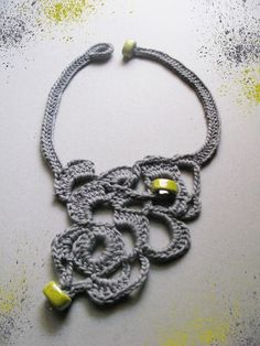 a free form crochet light grey with lemon yellow beads necklace, 45.00 EUR, click for details by WearitCrochet